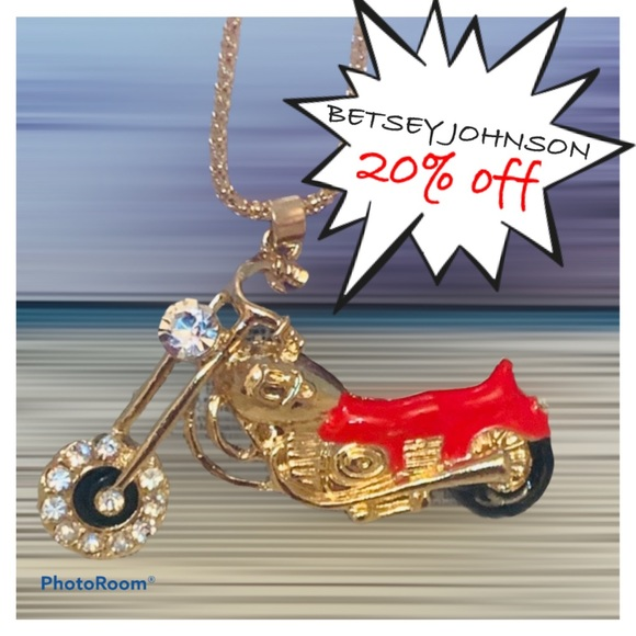 BETSEY JOHNSON Red Motorcycle Pendant Necklace